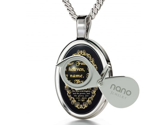 The Lord's Prayer Necklace Onyx and Silver Frame
