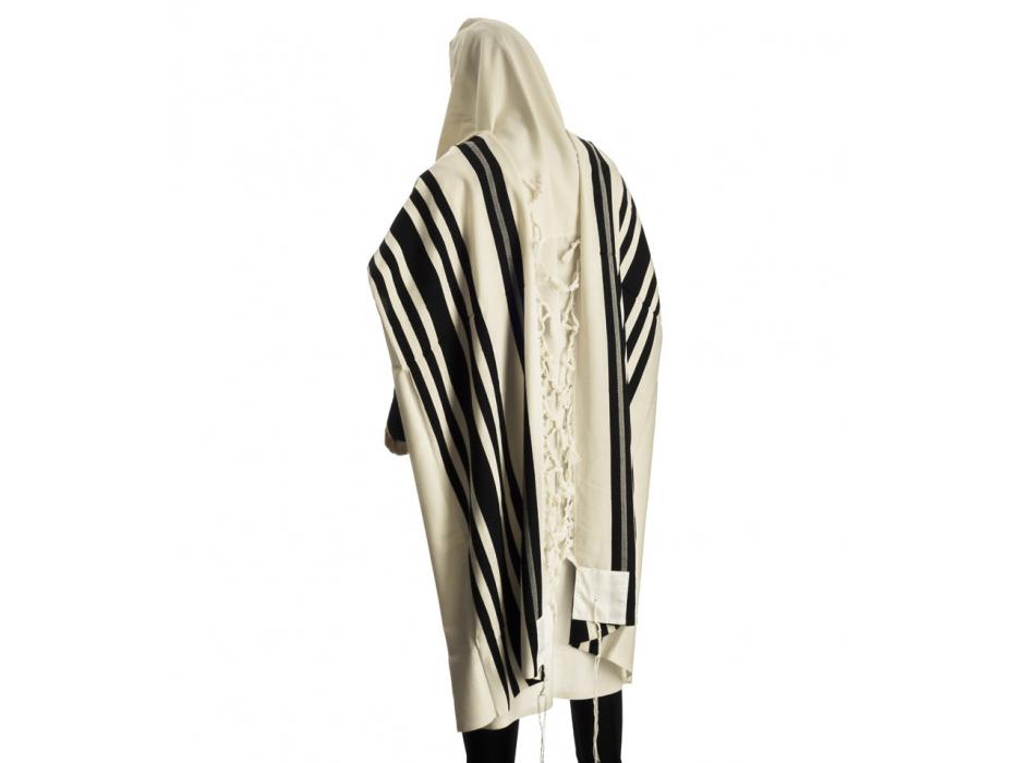 Talitania Turkish Wool Tallit Prayer Shawl with Black Stripes