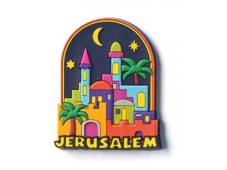 3 Dimentional Colorful Jerusalem Night Magnet