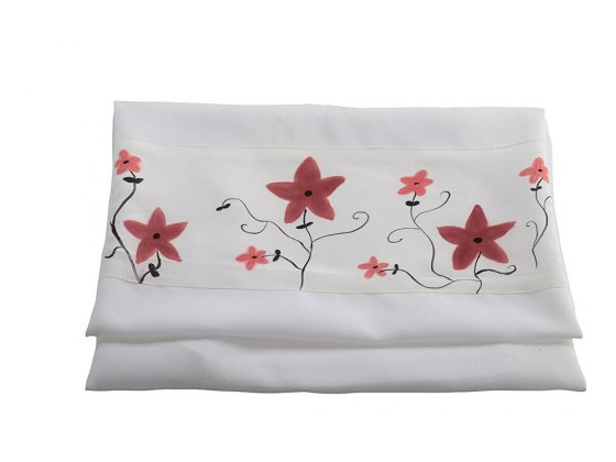White Silk Tallit with Hand Painted Red Flowers By Galilee Silks