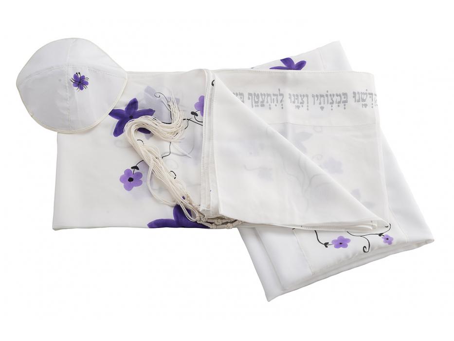 White Silk Women's Tallit with Purple Flowers
