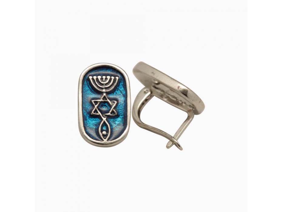 Marina Jewelry White Gold Plated Blue Enamel Messianic Symbol Earrings