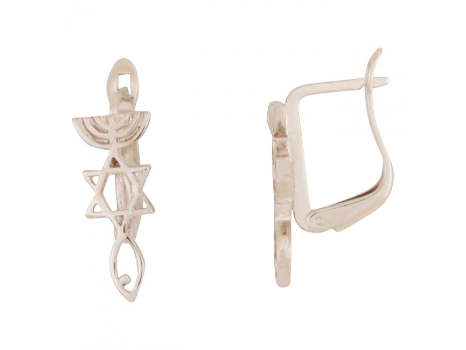 Marina Jewelry White Gold Plated Messianic Seal Earrings