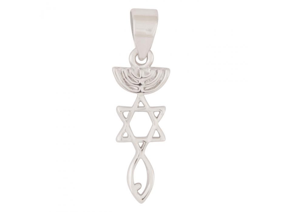 Marina Jewelry White Gold Plated Messianic Symbol Pendant