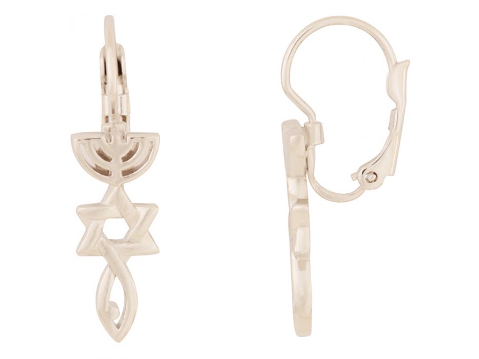 Marina Jewelry White Gold Plated Messianic Symbol Earrings Thin Bail