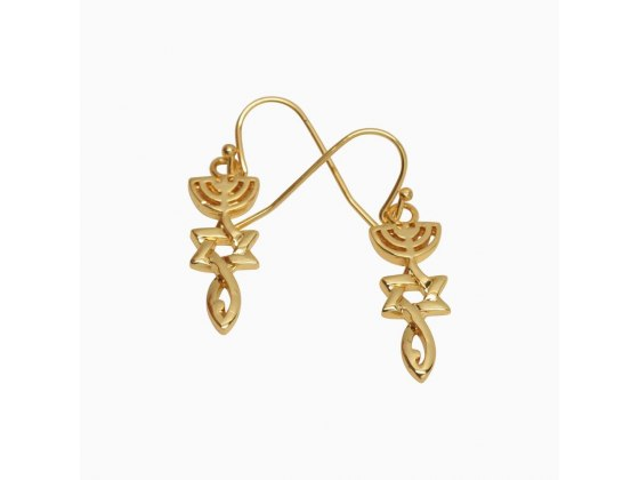 Marina Jewelry Gold Plated Messianic Symbol Fish Hook Back Earrings