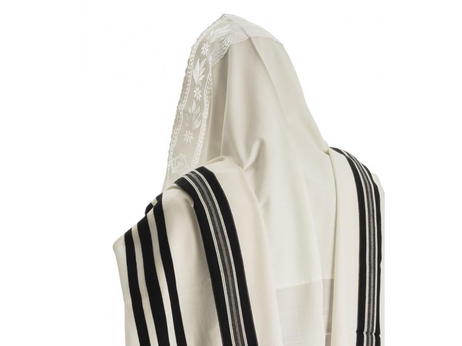 Talitania Prima Light Wool Tallit with Black Stripes
