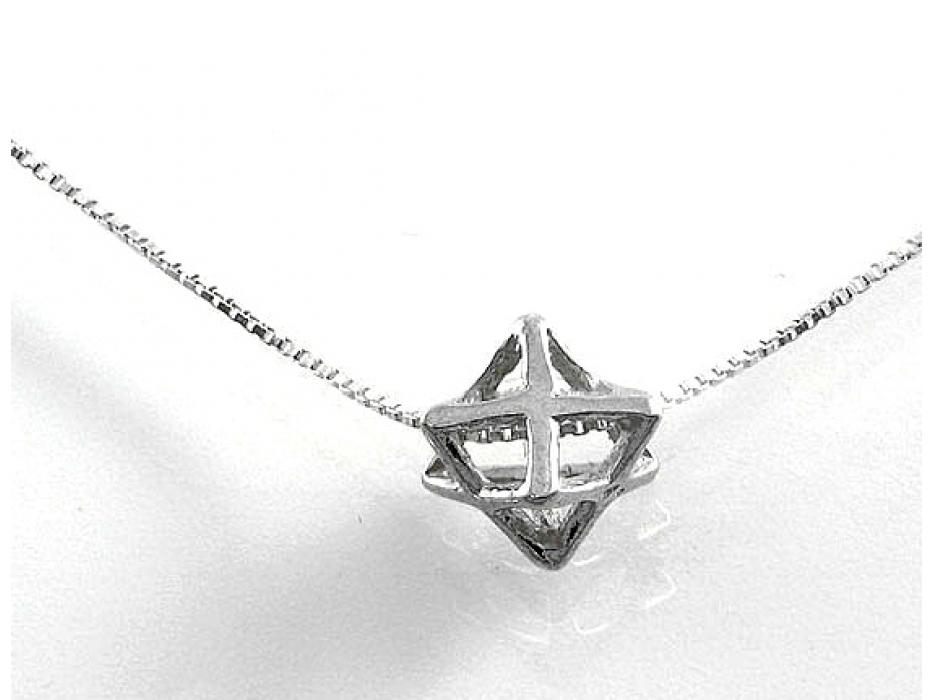 3D Merkaba Geometric Kabbalistic Silver Pendant by Emunah