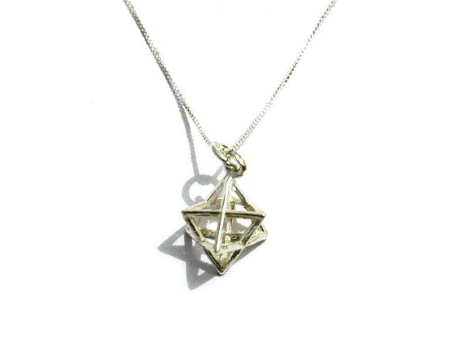 3D Merkaba Pendant Geometric Kabbalistic Symbol, Sterling Silver