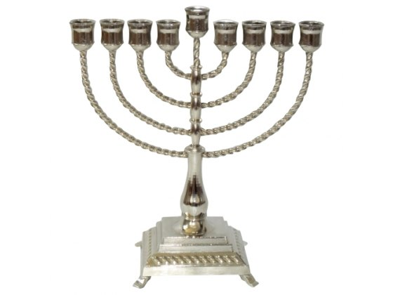 Clone of Silver Filigree Hanukkah Menorah with Curved Branches