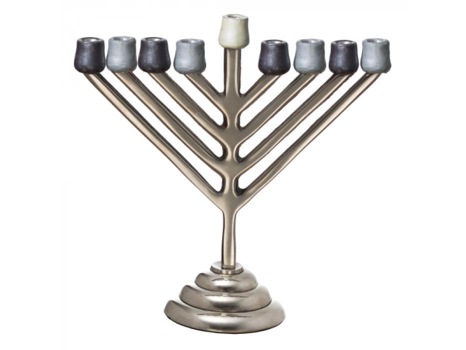 Aluminium Chabbad Hanukkah Menorah with Shades of Grey
