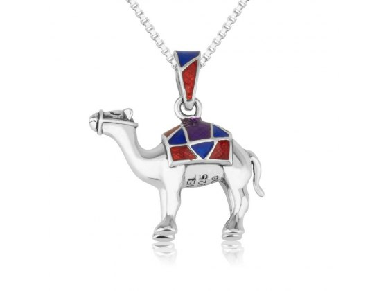 Camel Necklace Sterling Silver And Colorful Enamel