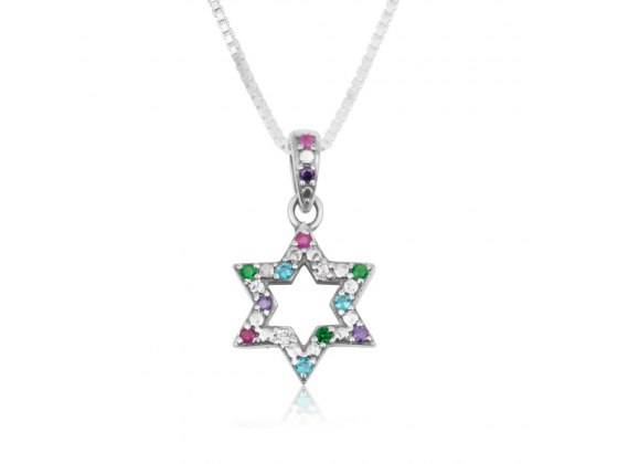 Marina Jewelry Sterling Silver Mix Of Stones Star Of David Necklace