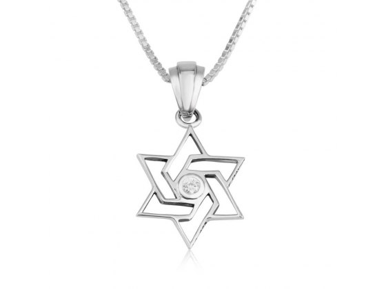 Marina Jewelry Sterling Silver Interwoven Zircon Star Of David Necklace