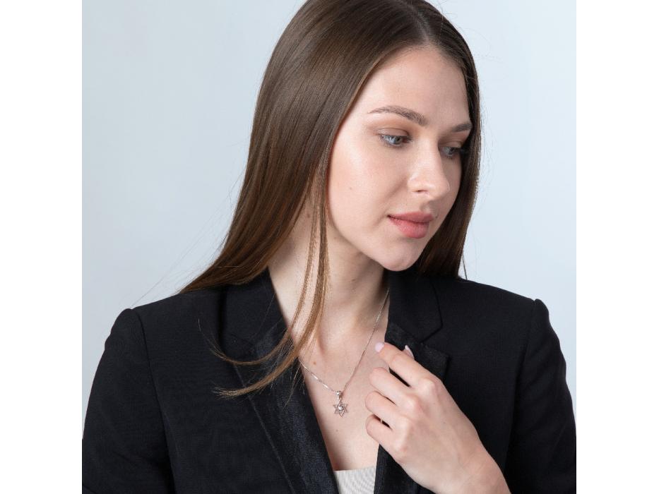 Marina Jewelry Sterling Silver Interwoven Zircon Star Of David Necklace