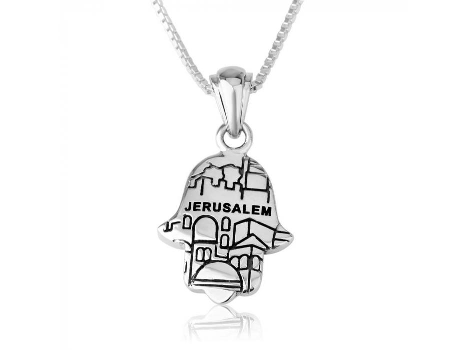 Marina Jewelry Sterling Silver Zirconia Hamsa Jerusalem Necklace