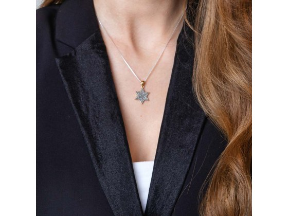 Star Of David Necklace Sterling Silver Gold Plate Stud Filled Double Star
