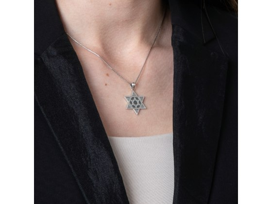 Star Of David Necklace Sterling Silver With Studded Corners