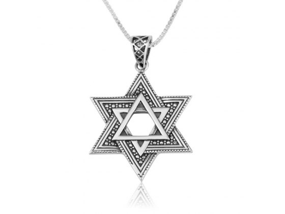 Star Of David Necklace Sterling Silver Woven And Traditional