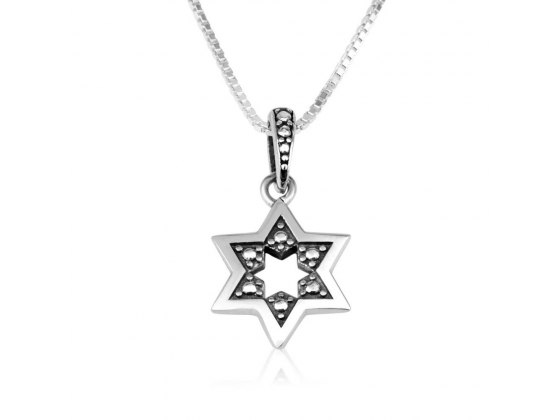 Star Of David Necklace Sterling Silver Studded With Smooth Frame