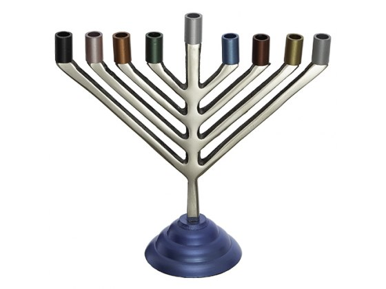 Hanukkah Menorah Colorful Candle Holders And Base Chabad Style