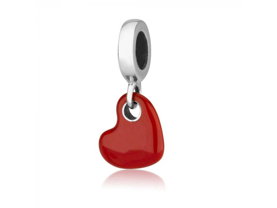 Marina Jewelry Red Enamel Sterling Silver Heart Charm Bead