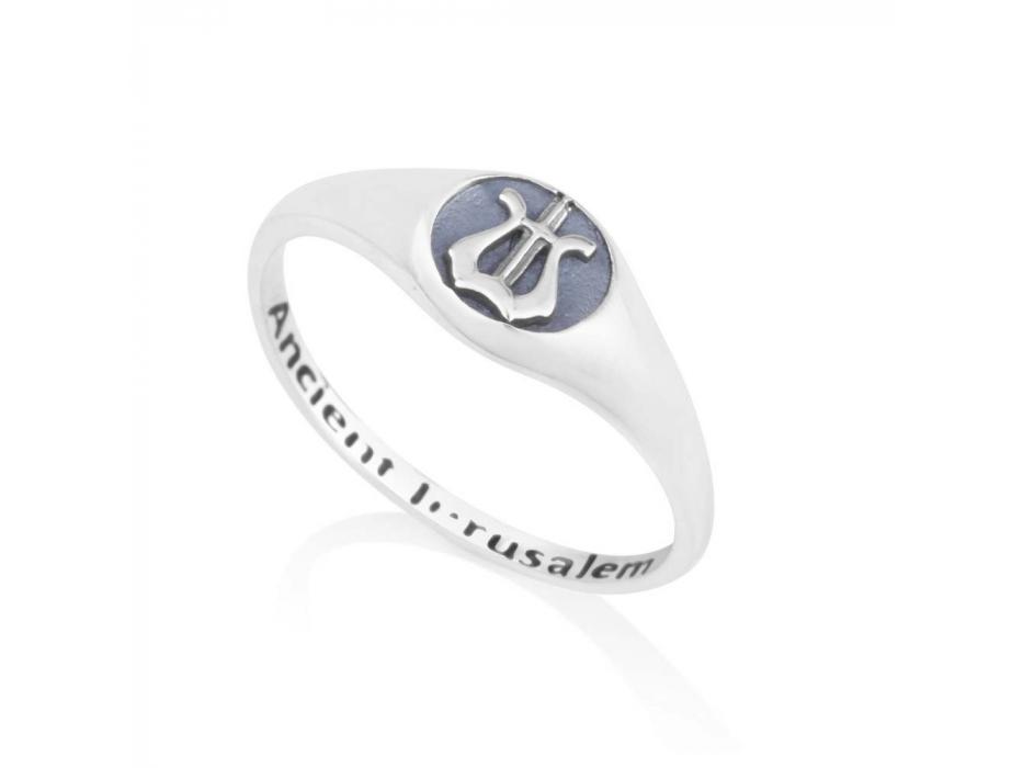 Jewish Ring Sterling Silver David's Harp by Marina Jewelry