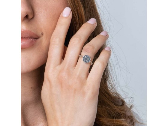 Star of David Jewish Ring Sterling Silver Signet Ring by Marina Jewelry