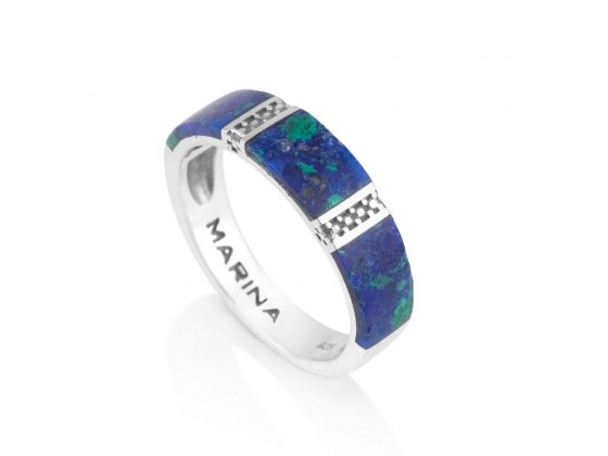 Marina Jewelry Eilat Stone Ring With Sterling Silver Diamond Pattern Stripes