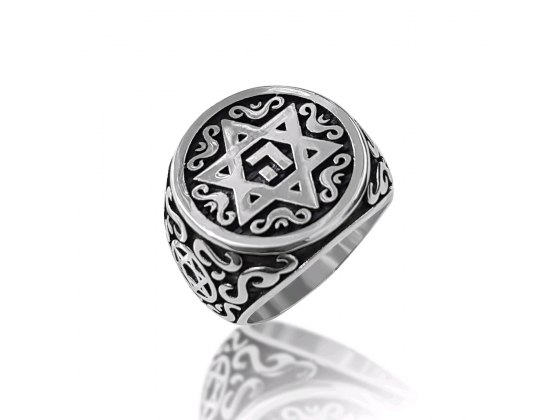 Sterling Silver Star of David Ring with Name of God