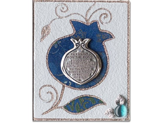 Lily Art English Home Blessing on Metal and Blue Pomegranate Ornament