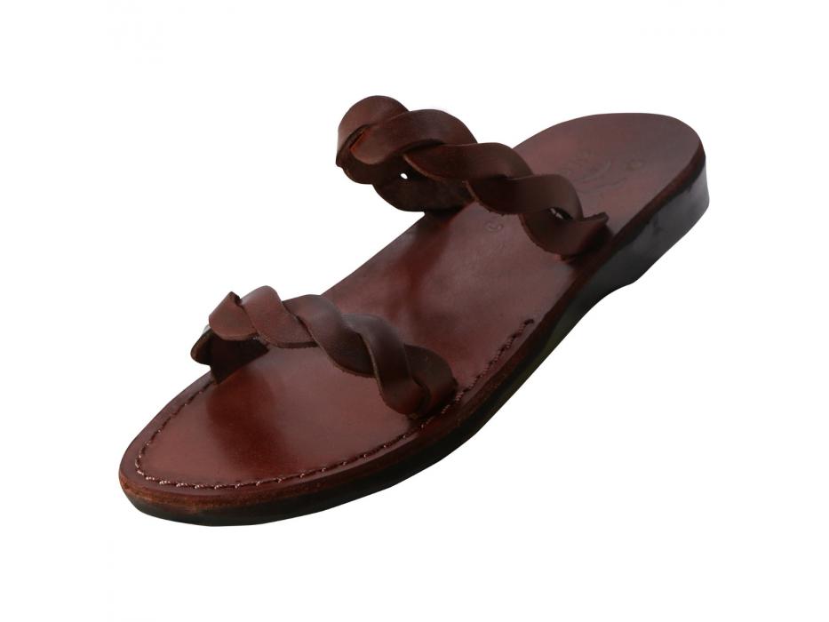 Twisted Strap Slip on Handmade Leather Sandals - Ofir