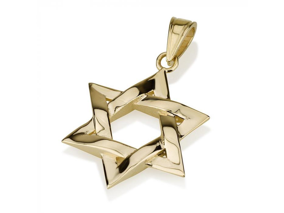 14K Gold Interlock Star of David Necklace