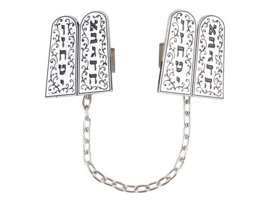 Embellished Two Tablets Silver Plated Tallit Clips