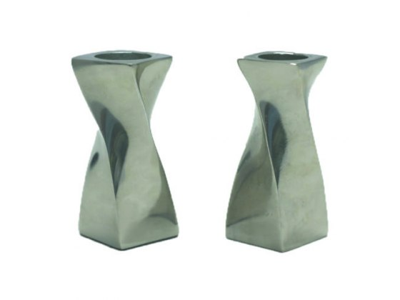 Twisted Design Aluminum Candlesticks Small