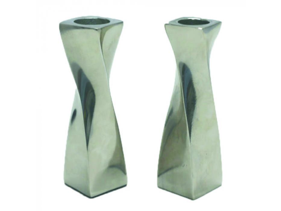 Twisted Design Aluminum Candlesticks Medium