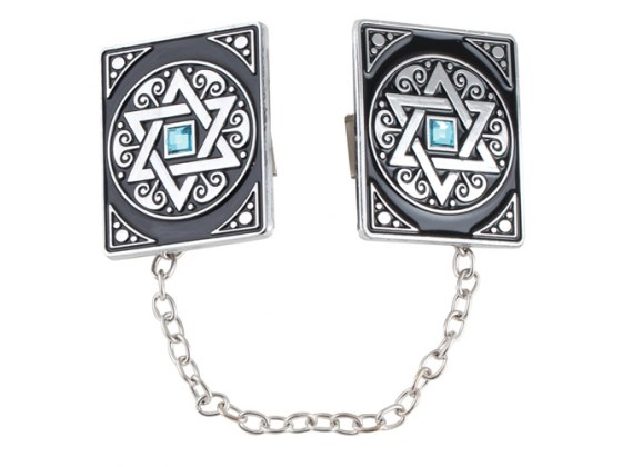 Silver Plated Star of David Tallit Clips with Blue Stone