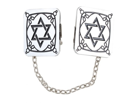 Rectangle Star of David Tallit Clips with Embellishment