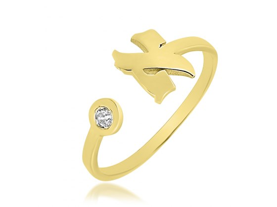 14K Gold Hebrew Letter Ring with Diamond