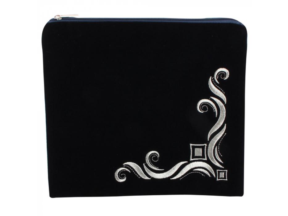 Silver Floral Royal Navy Blue Velvet Tallit Bag