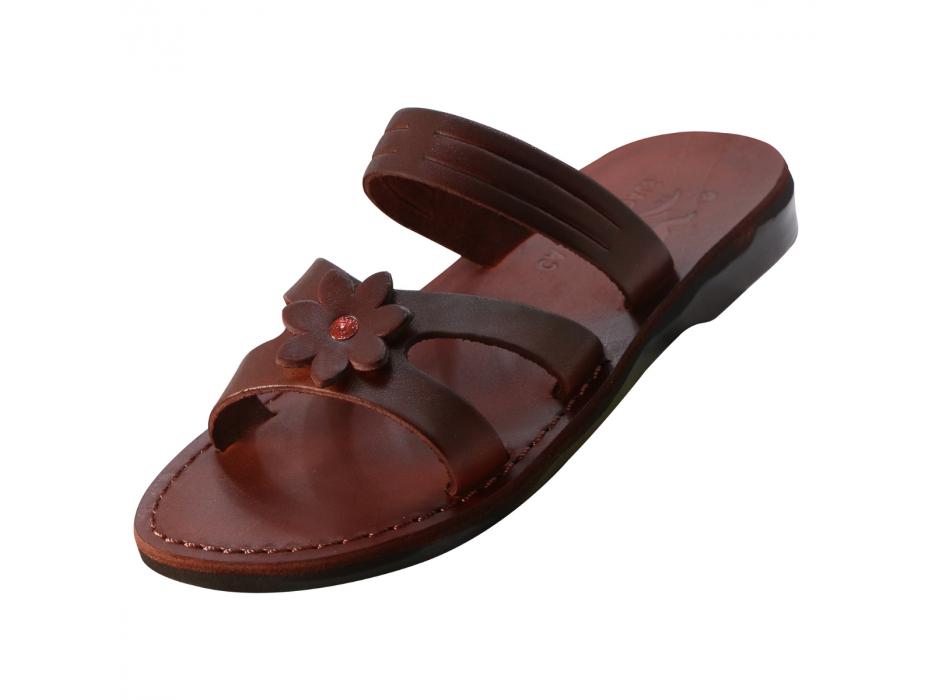 Slip on Handmade Leather Sandals with Flower - Oranit