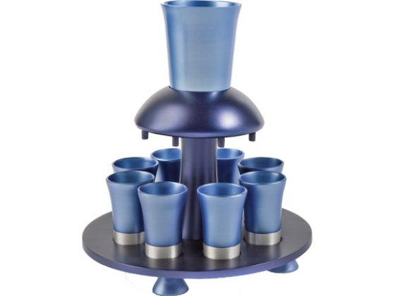 8 Cup Blue Colored Yair Emanuel Aluminum Kiddush Fountain