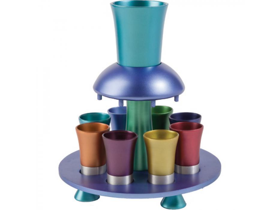 8 Cup Colorful Yair Emanuel Aluminum Kiddush Fountain