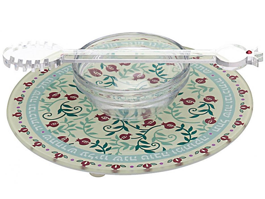 Dorit Judaica Stylized Pomegranates Base Glass Honey Dish