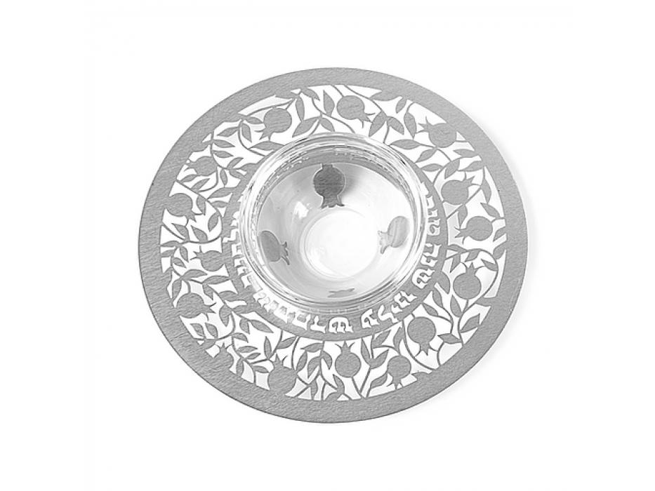 Dorit Judaica Silver Natural Pomegranates Metal Cutout And Glass Honey Dish