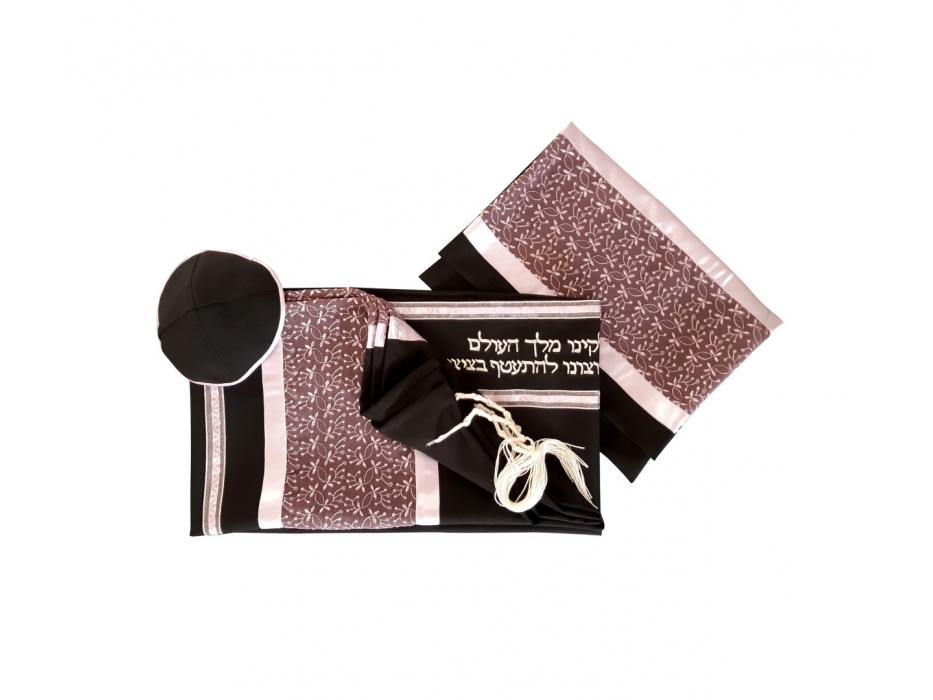 Galilee Silks Black Tallit with Lilac Leaf Pattern Stripe