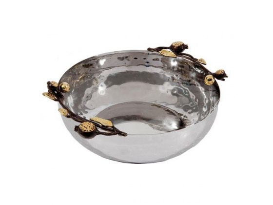 Yair Emanuel Large Round Stainless Steel Bowl With Pomegranate Branches