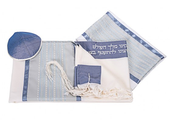 Light Blue Wool Tallit by Galilee Silk