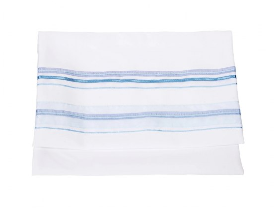 Galilee Silks Four Mothers Tallit with Blue Stripes