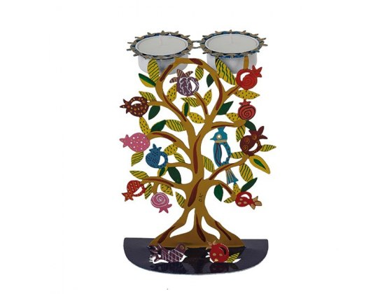 Yair Emanuel Laser Cut Candlesticks with Hand Painted Pomegranate Tree
